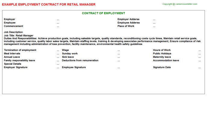Retail Manager Employment Contract Template