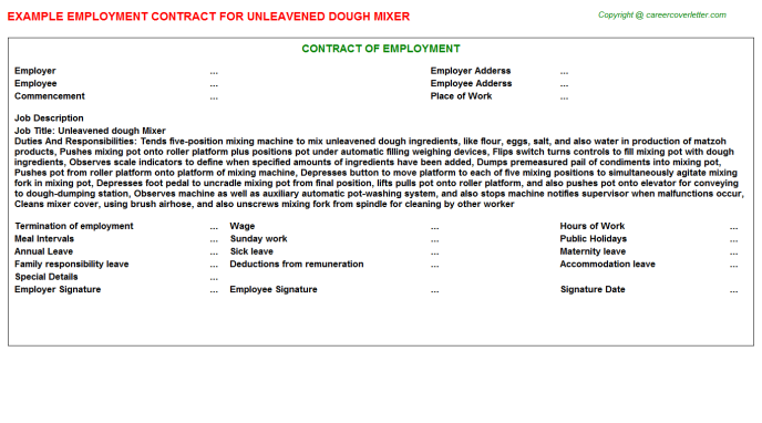 Unleavened dough Mixer Employment Contract Template