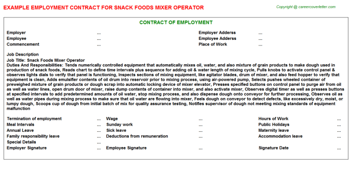 snack foods mixer operator employment contract template