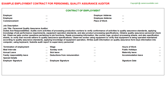 personnel quality assurance auditor employment contract template