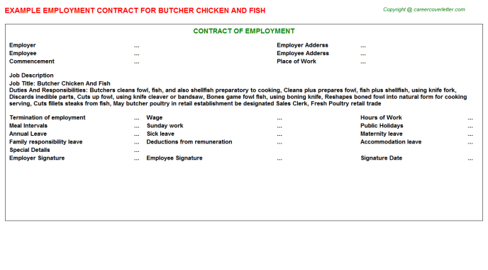 Butcher Chicken And Fish Job Contract Template