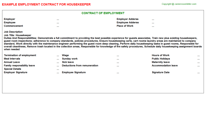 Housekeeper Job Employment Contract Template