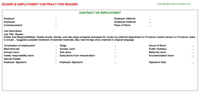 Reader Employment Contract Template