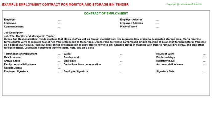 Monitor and storage bin Tender Employment Contract Template