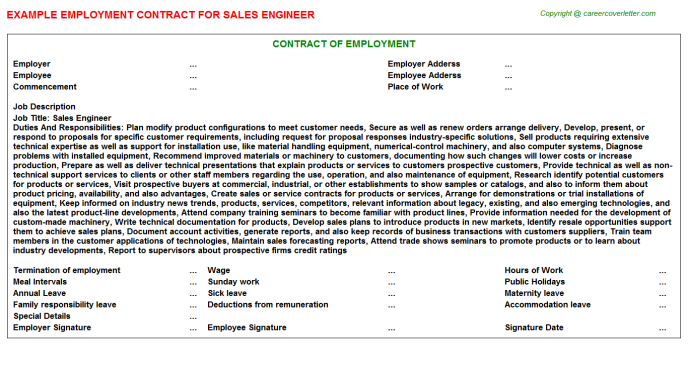 Sales Engineer Employment Contract Template