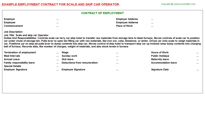 Scale And Skip Car Operator Employment Contract Template