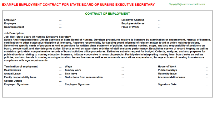 state board of nursing executive secretary employment contract template