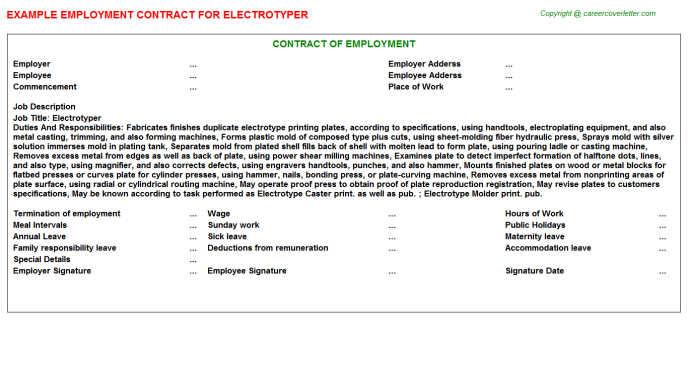 Electrotyper Job Employment Contract Template
