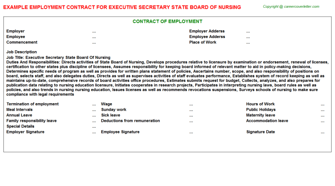 executive secretary state board of nursing employment contract template
