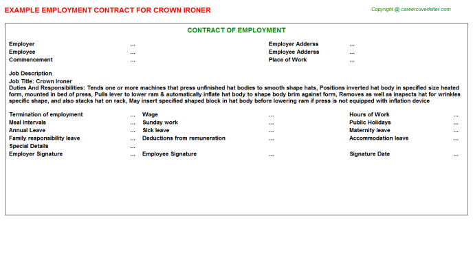 Crown Ironer Employment Contract Template