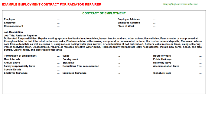 Radiator Repairer Employment Contract Template