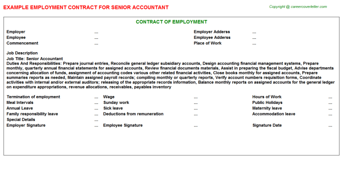 Senior Accountant Employment Contract Template