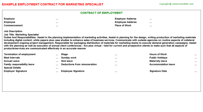 Marketing Specialist Employment Contract Template