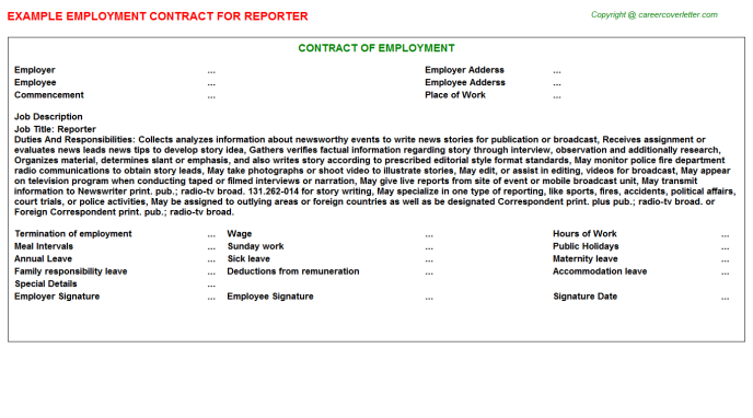 Reporter Employment Contract Template