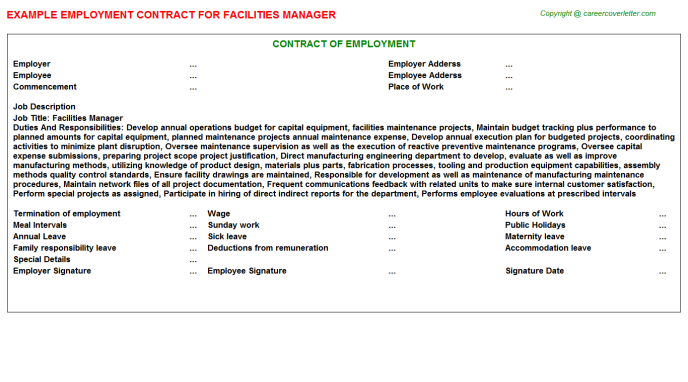 Facilities Manager Employment Contract Template