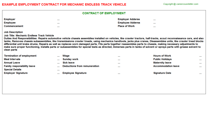Mechanic Endless Track Vehicle Employment Contract Template