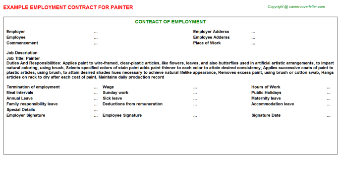 painter employment contract template
