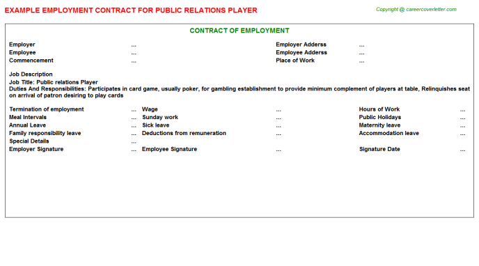 public relations player employment contract template