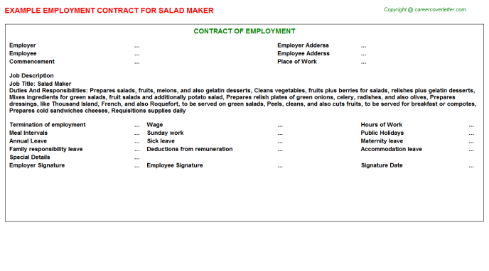Salad Maker Employment Contract Template