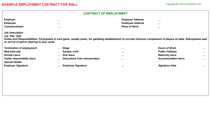 Shill Employment Contract Template