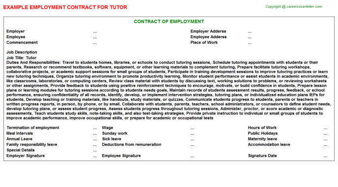 Tutor Employment Contract Template