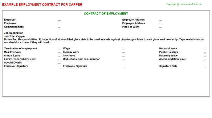 Capper Employment Contract Template
