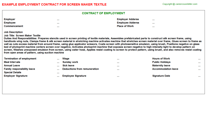 Screen Maker Textile Employment Contract Template