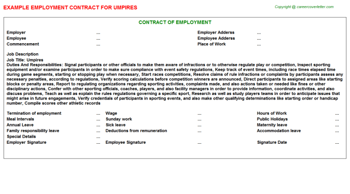 Umpires Job Employment Contract Template