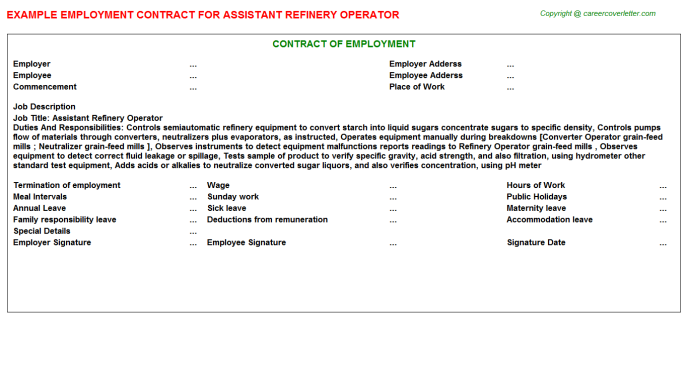assistant refinery operator employment contract template