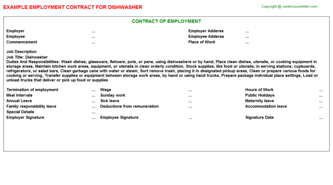 Dishwasher Job Employment Contract Template