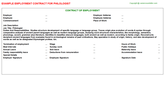 Philologist Employment Contract Template