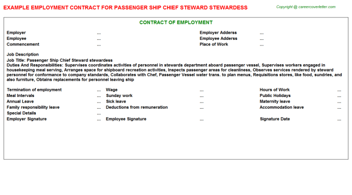 Passenger Ship Chief Steward Stewardess Employment Contract Template