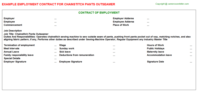 Chainstitch Pants Outseamer Employment Contract Template