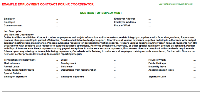 HR Coordinator Employment Contract Template