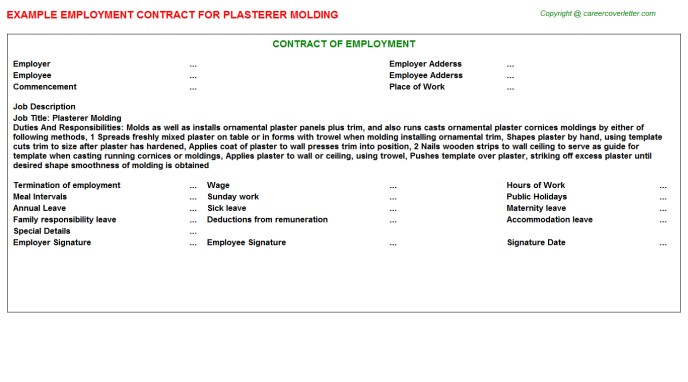 plasterer molding employment contract template