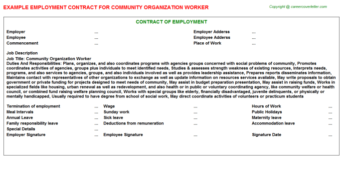 Community Organization Worker Job Employment Contract Template