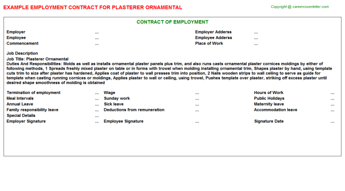 plasterer ornamental employment contract template
