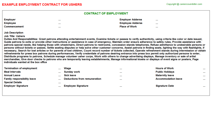 Ushers Job Employment Contract Template