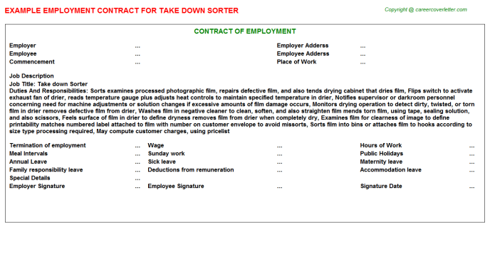 Take Down Sorter Employment Contract Template