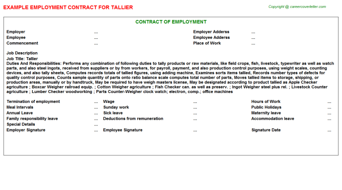 Tallier Employment Contract Template