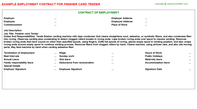 Finisher Card Tender Job Contract Template