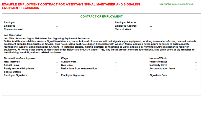 Assistant Signal Maintainer And Signaling Equipment Technician Employment Contract Template