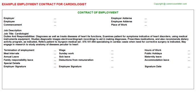 Cardiologist Employment Contract Template