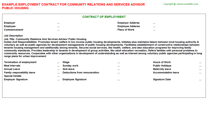 Community Relations And Services Advisor Public Housing Employment Contract Template