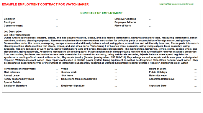 Watchmaker Job Employment Contract Template