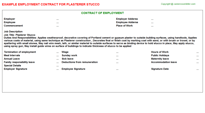 Plasterer Stucco Job Employment Contract Template