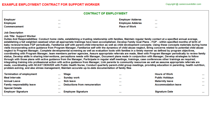 Support Worker Employment Contract Template
