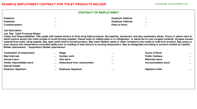 toilet products molder employment contract template