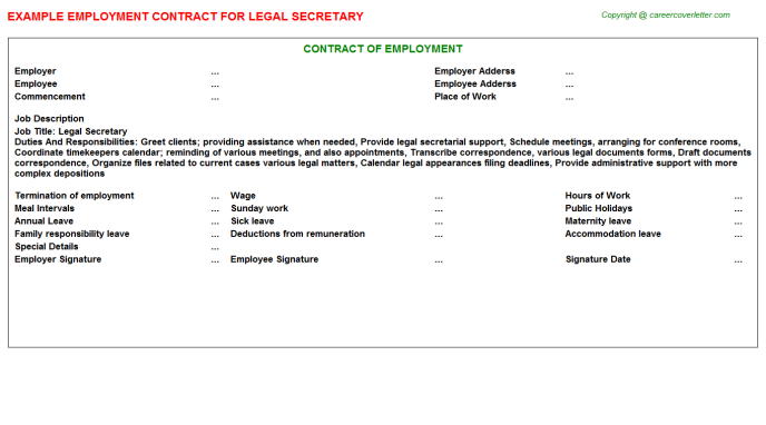Legal Secretary Employment Contract Template