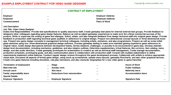 Video Game Designer Employment Contract Template